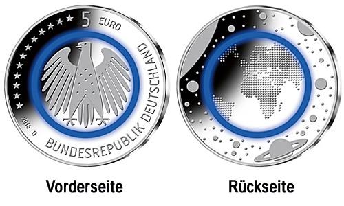 Die neue 5 EUR Münze mit blauem Ring