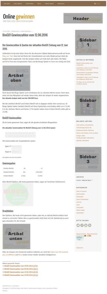 Plätze für Werbebanner auf onlinegewinnen.info