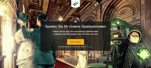 Screenshot der Mr Green Homepage